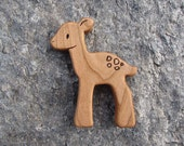 Deer Woodland Animal Toy - Fawn - all natural wooden teether for baby, or toddler toy