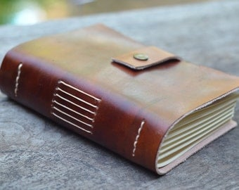 Old Classic Leather Journal / Pocket Book  /  Free Initials / Lined or plain