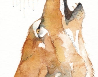 COYOTE howling Aceo watercolor PRINT  - 'Carpe Diem' - Native American spirit totem animal - Free Shipping