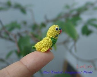 dollhouse miniatures artisan - tiny crochet parrot - teeny amigurumi bird - 1 inch long