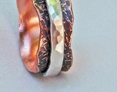 "Spinner Ring Copper ""JJ"" with Bark Texture and Sterling Silver Size 11.75 Hand Forged"