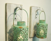 Shabby Chic Turquoise Lantern Pair on whitewashed wood board for unique wall decor, home decor, bedroom decor