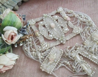 STUNNING Antique Edwardian c1915 Belt Sash Appliqué Glass Faux Pearl Beaded With Rhinestones & Ribbonwork Ribbon Work Roses Rosettes P25