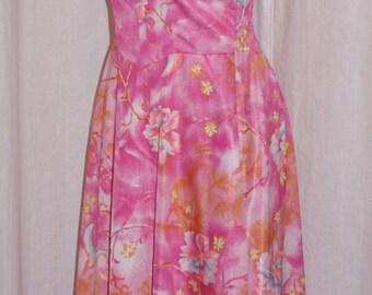 Vintage 1960s pink DeWeese Hawaiian built in bullet bra sun dress S Rockabilly Viva
