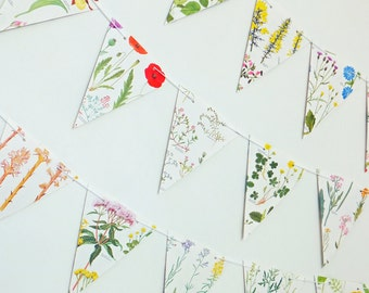 Flower Bunting, Wedding decor, Wedding Garland,  Floral Garland, eco-friendly banner, up-cycled paper bunting, wedding pennants