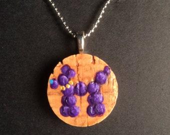 Hand Painted Mardi Gras Bead Dog Cork Pendant Necklace