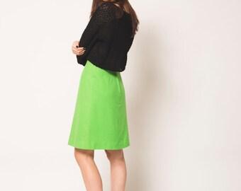 High Waisted Lime Green Vintage Wool Skirt