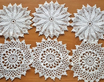 6 Hand Crocheted Vintage Doilies, Crochet Coasters, Crochet Snowflakes, Four Inch Doilies for Dream Catchers and Crafts