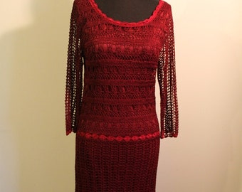 Beautiful Burgundy Boho Crochet Drop Waist Dress - Size 6