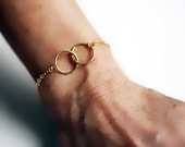 Gold Infinity Bracelet, Inseparable Circles Bracelet, Sisters, Mother, Friendship Bracelet, Connected Rings, Bond Bracelet, Love Bracelet