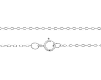 Sterling Silver 1.5x1mm 16 Inch Drawn Flat Cable Neck chain with clasp - 1pc (6784) 10% Discounted High Quality Shiny Finished Chain