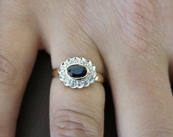 14K Sapphire and diamonds ring