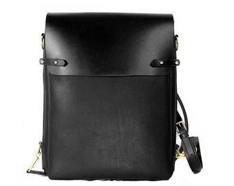 Black leather satchel bag, backpack, vertical, messenger, handmade, Melbourne, Australia, solid brass hardware, fits laptop, ipad, brown