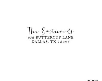 Classic - Personalized Custom Return Address Rubber Stamp or Self Inking - Lovely Handwriting - Eastwoods