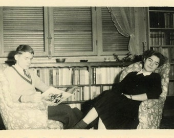 "Vintage Photo ""Reading Her Story"" Girl Living Room Book Decor Snapshot Photo Old Antique Black & White Photograph Found Paper Ephemera - 85"