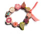 "Fairy Wedding flower girl bracelet, child stretch Bracelet 6"" Flower girls gift, wedding kids child jewelry pink ribbon polymer clay beads"
