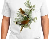 Cedar Bird Retro Men & Ladies T-shirt - Gift for Bird Lovers and Ornithologist (idc043)