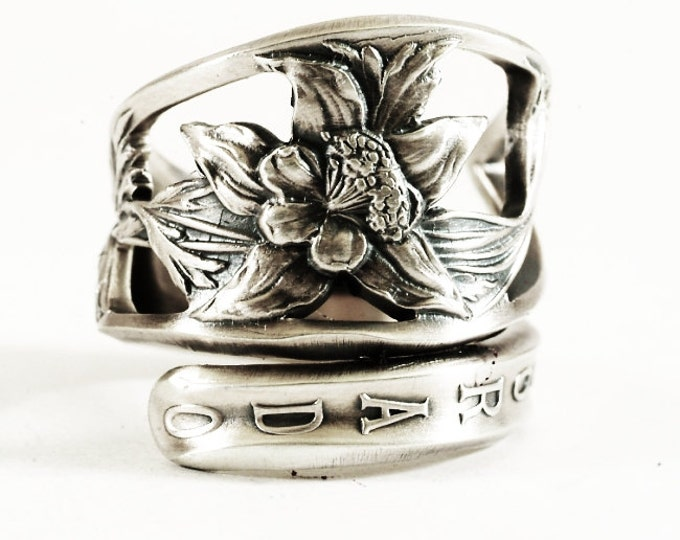 Columbine Flower Ring, Sterling Silver Spoon Ring, Floral Columbine Ring, Colorado Ring, Handmade Colorado Gift, Adjustable Ring Size (5809)