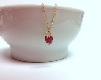 Tiny ROSE Swarovski heart pendant and Gold-filled chain - October birthday - Free shipping to Canada & USA