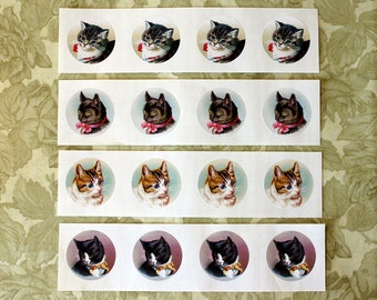 Cat Stickers | Envelope Seals | Vintage Style | Set of 8 | Four Styles 1