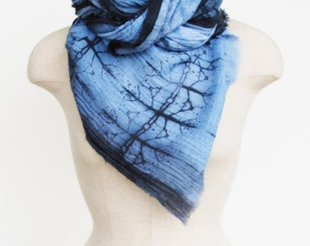 Boho cotton scarf, screen printed, urban fashion scarves