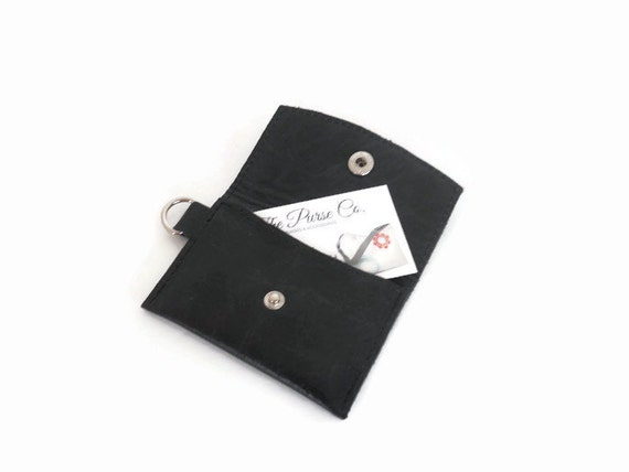 Leather business card holder minimalist wallet keychain for Keychain business cards