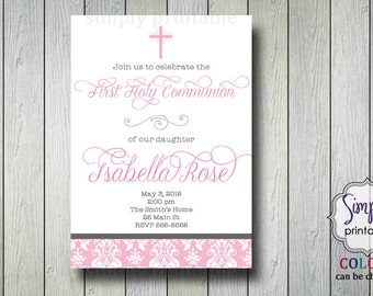 Damask Girls Communion Invitation or Baptism Invitation