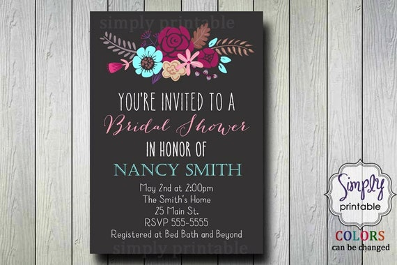 Floral Bridal Shower Invite (Printable)