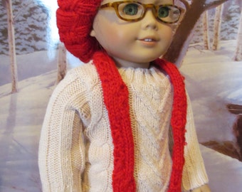 Doll Hat,  Cable Knit Hat,  Knit Hat and Scarf, Slouchy Hat, 18 inch  Doll Clothes