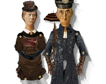 Steampunk paper puppets  American Gothic dolls Diy articulated puppets