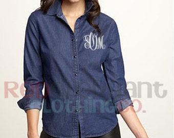 Monogram Denim Shirt, Personalized Bridesmaids Gifts, Button Down Chambray Shirt, Womens Denim Shirt,