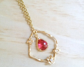Gold Red necklace / RUBY Birthstone jewelry / Valentines day Gift / Floral pendant / Red bridesmaid necklace / Wedding jewelry