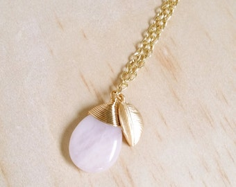 Rose Quartz necklace Pink Teardrop Necklace Gold leaf charm Gemstone necklace Wire wrapped Pastel Jewelry Bridesmaid Gift Thank you Card