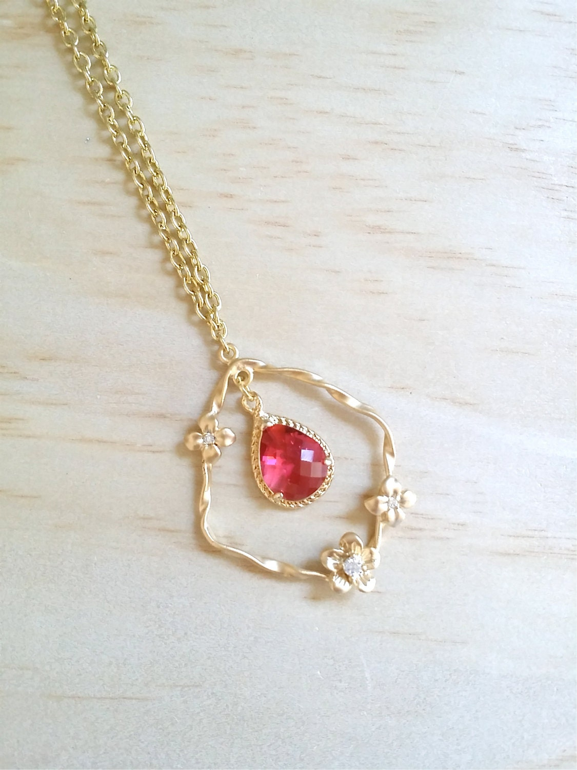 gold red necklace ruby birthstone jewelry valentines day. Black Bedroom Furniture Sets. Home Design Ideas