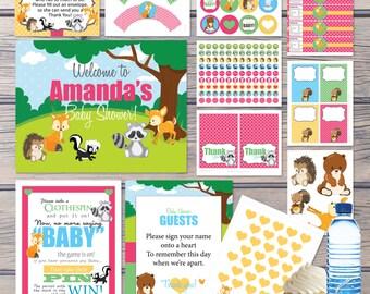 Woodland Creatures Baby Shower Forest Animals - Decorations, Activities, Games & Banners, Fox Bear Racoon Skunk, Instant Download DIY