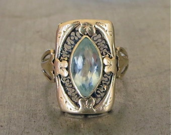 Aquamarine Ring-Unique Engagement Ring - Art Nouveau-Vintage Aquamarine Ring - 1900s Engagement - Right Hand Ring - Victorian Light  Blue