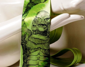 Monster on mens tie. Green necktie inspired by Creature From the Black Lagoon movie. Gift for fan classic horror movies. Geek tie.