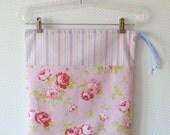 Large Drawstring Bag. Lingerie Bag. Shabby Chic Pink Roses and Fresh Stripes. Floral Cotton Bag