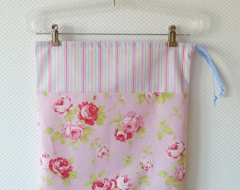 Large Drawstring Bag. Lingerie Bag. Shabby Chic Pink Roses and Fresh Stripes. Floral Cotton Bag