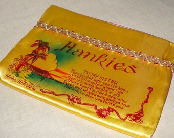 Vintage Souvenir of Hawaii Satin Hanky Safe For Sister