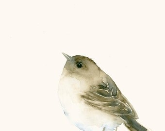 Giclee Print from my Original Bird Watercolor Painting Sparrow