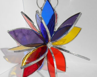 Stained glass 3d rainbow flower twirl garden art home decor sculpture hanging ornament