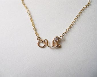 Oui Necklace Pendant with Chain - Gold or Silver