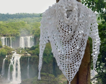 Triangle Scarf Crochet Pattern Iguazu PDF - shawl summer scarf - Instant DOWNLOAD