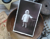 Antique french card photography little girl with a white coat 1920s