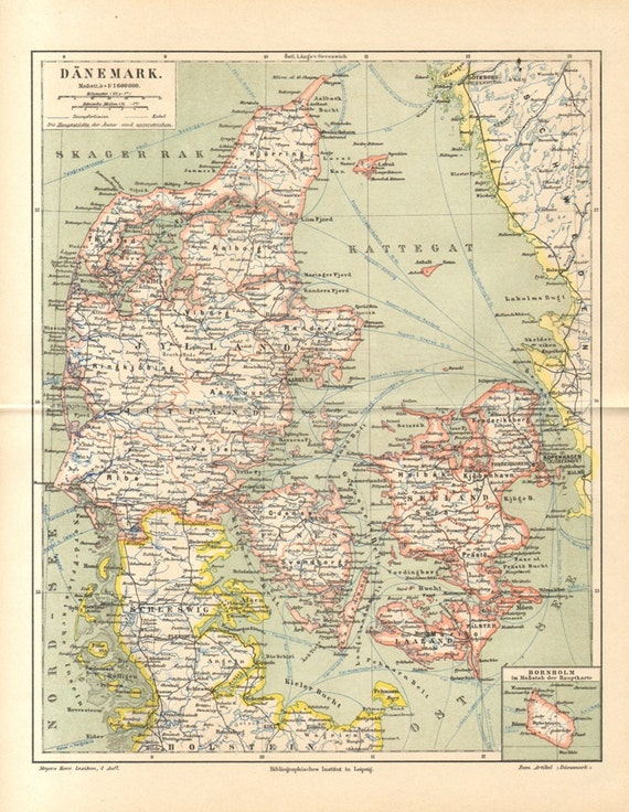 1889 Antique Map of Denmark