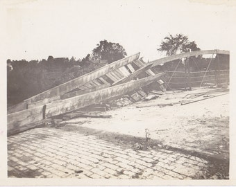 Tuesday Night Cyclone- 1910s Antique Photograph- Collapsed Bridge- Tornado- Watertown, Wisconsin- June 23, 1914- Real Photo Postcard- RPPC