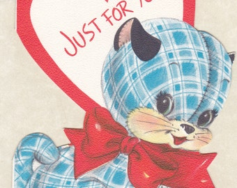 Just For You- 1950s Vintage Card- Nice As Can Be- Blue Flannel Cat- Stuffed Animal- 50s Valentine Card- Retro Decor- Paper Ephemera- Used
