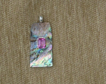 Abalone and genuine pink topaz pendant with sterling silver chain