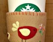 Red and Cream Birds Felt Cup Cozy